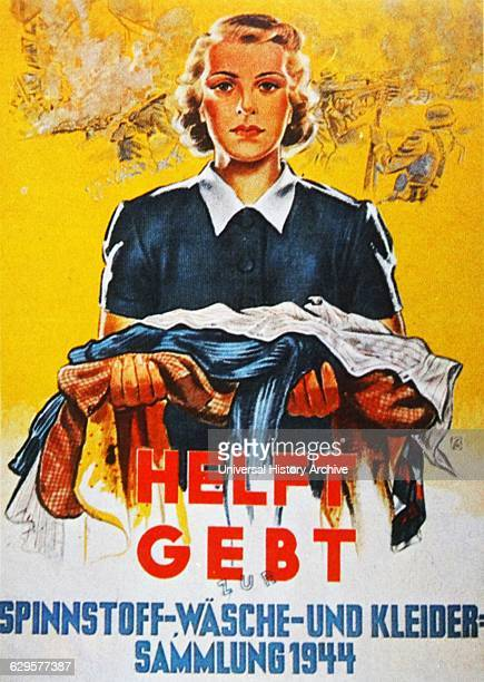 Propaganda poster encouraging the German public to donate clothing in order to support the Reich's war effort