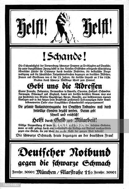 Propaganda poster for a far right party against the French occupation of the Rhineland Germany Private Collection