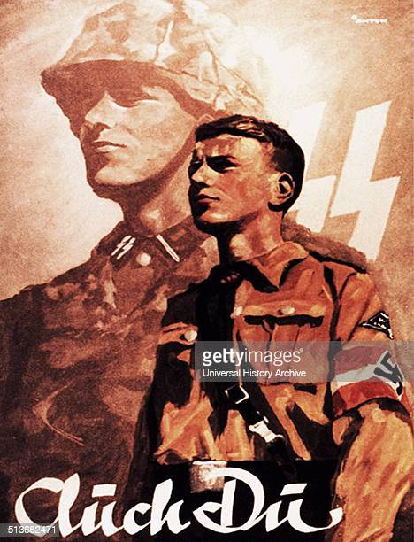 Propaganda poster for the Hitler Youth the members of which were viewed as the future 'Aryan supermen' It was the second oldest paramilitary Nazi...