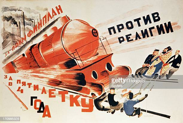 A propaganda poster from 1930 'for the completion of the five year plan in four years' and in black 'against religion'