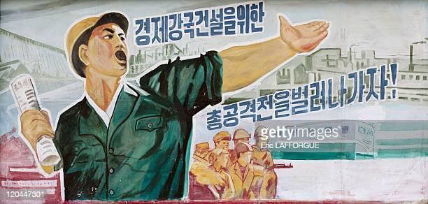 Propaganda poster in North Korea on April 16 2008