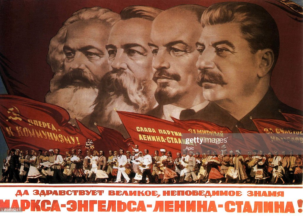 Propaganda poster Karl Marx Friedrich Engels Lenin and Stalin