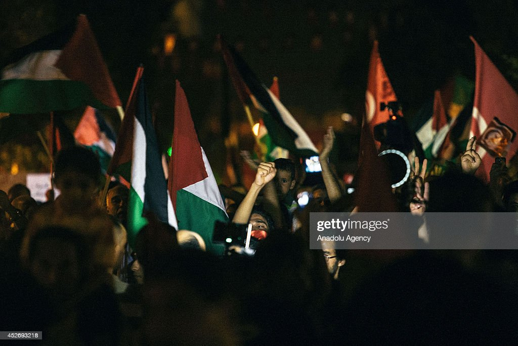 Pro-Palestinian protesters gather to stage a demonstration against the ongoing Israeli assaults on Gaza, July 25, 2014 in the capital Tunis.