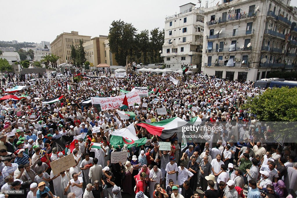 Pro-Palestinians in Algiers gather to demonstrate the ongoing Israeli assaults on Gaza, July 25,2014. The new fatalities raise Gaza's death toll from Israel's war to 871 since the beginning of this war on July 7, Health Ministry spokesman Ashraf al-Qodra said.