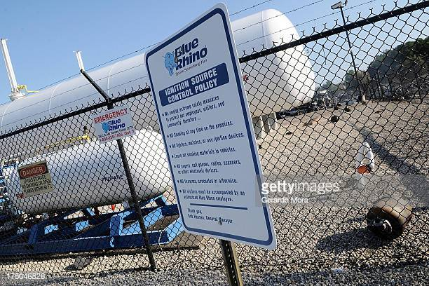 Propane cylinders lie on the grounds of Blue Rhino a propane gas company after a series of explosions rocked the central Florida propane gas plant on...
