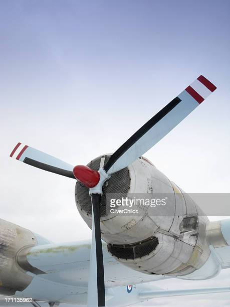 Propeller engine of a vintage Canadian aircraft.