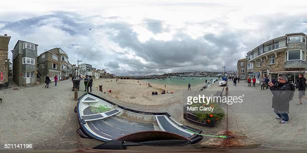 Properties are built around the harbour in the popular seaside resort of St Ives on April 14 2016 in Cornwall England Due to the pressures that...