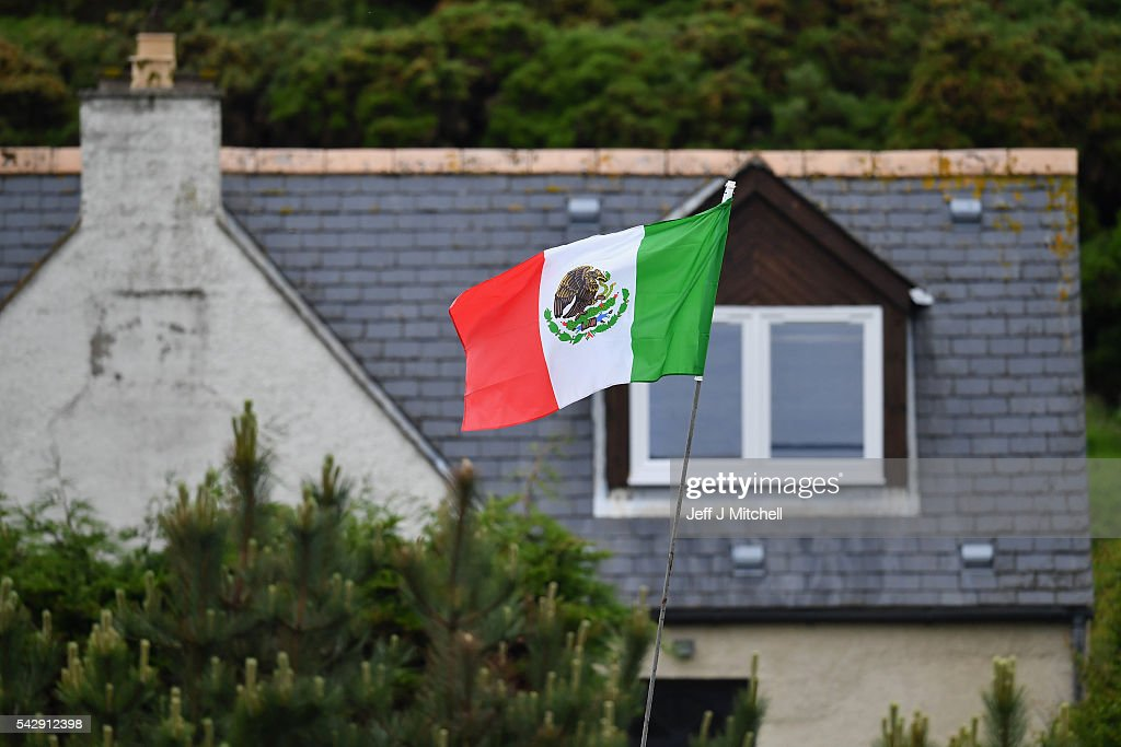 Properties bordering Trump International Golf Links fly the Mexican flag on June 25, 2016 in Aberdeen, Scotland. US presidential hopeful Donald Trump was in Scotland for the reopening of the refurbished Open venue golf resort Trump Turnberry which has undergone an eight month refurbishment as part of an investment thought to be worth in the region of two hundred million pounds.