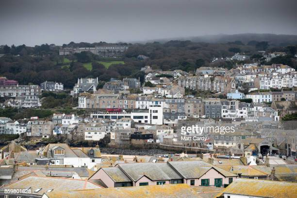Properties in the town of St Ives which has introduced measures to limit the number of second homes are seen in St Ives on October 10 2017 in...