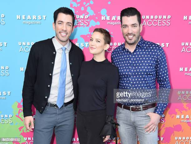 Property Brothers Jonathan Scott Drew Scott and Actress Kate Hudson attend Hearst Magazines' Unbound Access MagFront at Hearst Tower on October 17...