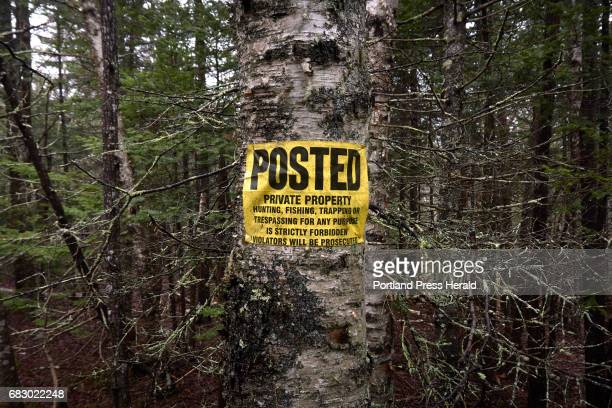 A property line on Islesboro is posted forbidding hunting and trespassing Only bow hunting is allowed on the island which results in fewer hunters...