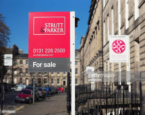 Property marketing signs in Edinburgh, Scotland