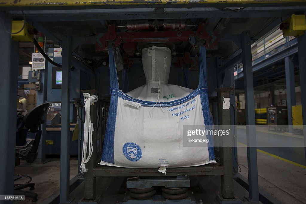 'Property of the U.S. Mint' is printed on a bag for transporting coins at the U.S. Mint in Philadelphia, Pennsylvania, U.S., on Wednesday, July 17, 2013. Some sources of declining inflation 'are likely to be transitory' and expectations for future price increases 'have generally remained stable,' Ben S. Bernanke, chairman of the U.S. Federal Reserve said in prepared remarks. Photographer: Scott Eells/Bloomberg via Getty Images