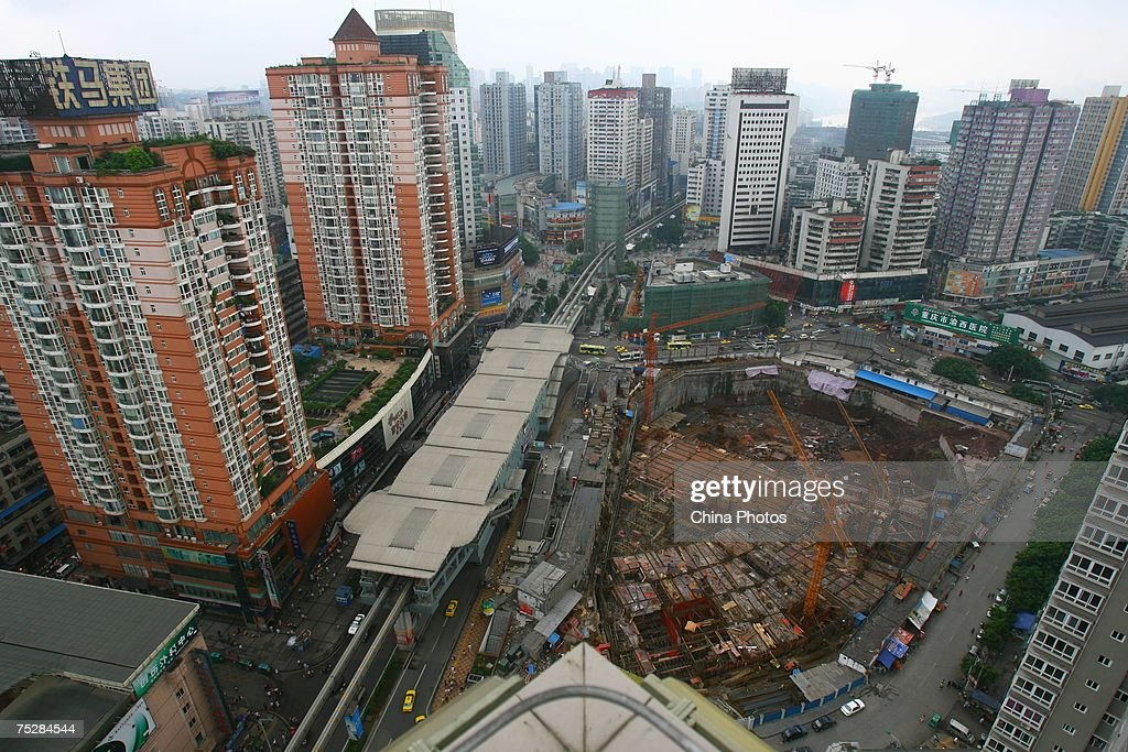 Property projects under go construction in downtown area on July 9 2007 in Chongqing Municipality China According to state media investment in...
