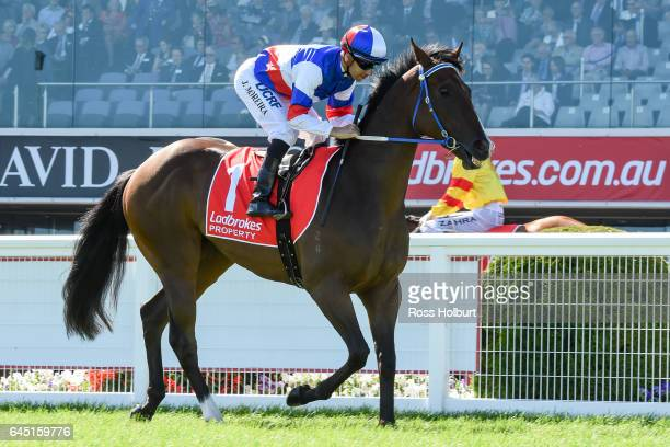 Property ridden by Joao Moreira heads to the barrier before the Ladbrokes Blue Diamond Stakes at Caulfield Racecourse on February 25 2017 in...