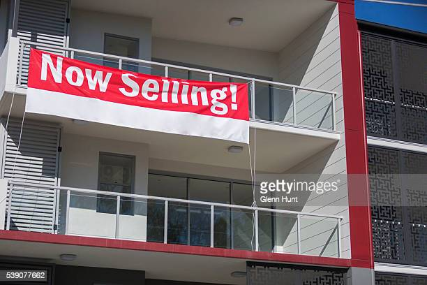 Property sales signage is displayed in North Lakes on June 10 2016 in Brisbane Australia Economic forecasts suggest Brisbane is on track to overtake...