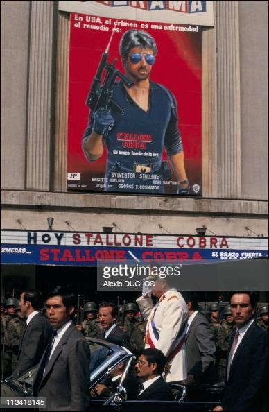 ProPinochet demonstration On September 9th 1986 In SantiagoChile
