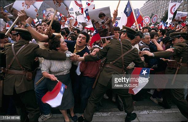 ProPinochet demonstration On September 9th 1986 In SantiagoChile