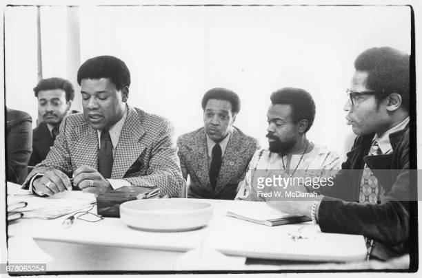 Proponents of a planned apartment complex Kawaida Towers hold a press conference Newark New Jersey November 22 1972 Among those pictured is American...