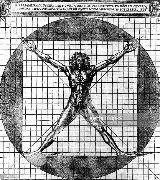 Proportions of the human body after Leonardo's studies also called 'Vitruvian man' Male human body with limbs extended superimposed on a grid and a...