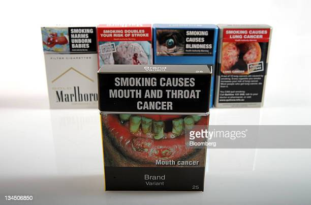 A proposed cigarette packet to be introduced under Australia's cigarette plainpackaging law front is arranged with British American Tobacco Plc...