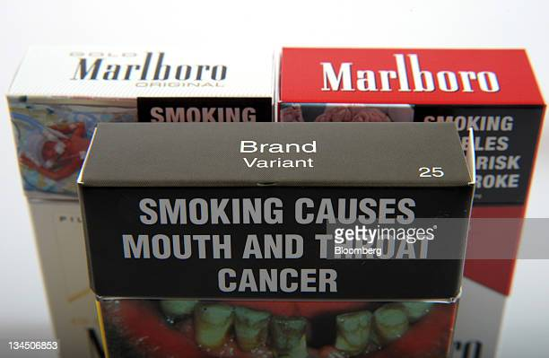 A proposed cigarette packet to be introduced under Australia's cigarette plainpackaging law is arranged with Philip Morris International Inc Marlboro...