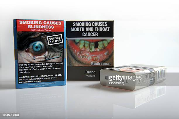 A proposed cigarette packet to be introduced under Australia's cigarette plainpackaging law and British American Tobacco Plc Dunhill cigarette...