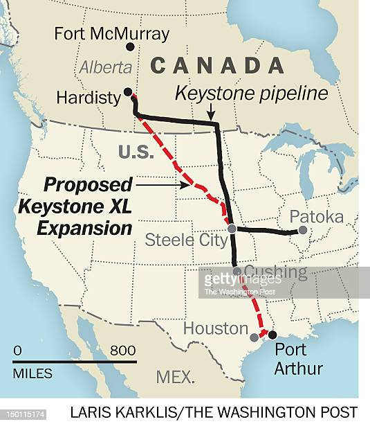 Proposed Keystone XL Extension map