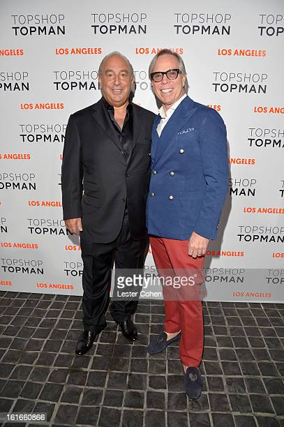 Proprieter Sir Philip Green and fashion designer Tommy Hilfiger arrive at the Topshop Topman LA Opening Party at Cecconi's West Hollywood on February...