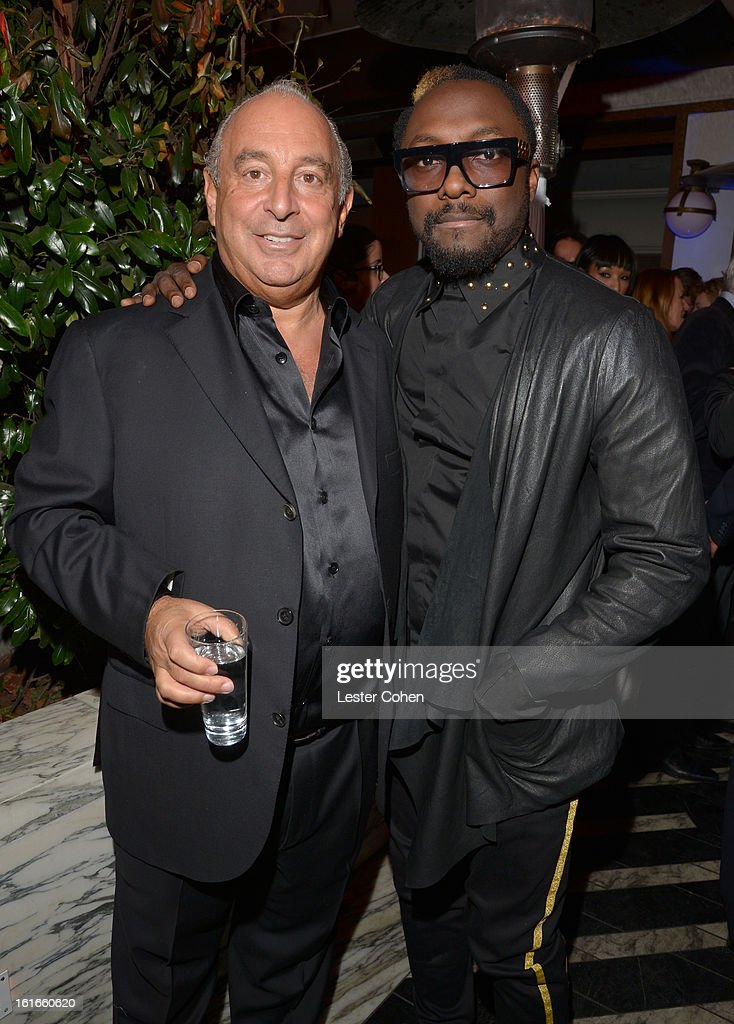 Proprietor Sir Philip Green and singer <a gi-track='captionPersonalityLinkClicked' href=/galleries/search?phrase=Will.i.am&family=editorial&specificpeople=203050 ng-click='$event.stopPropagation()'>Will.i.am</a> arrive at the Topshop Topman LA Opening Party at Cecconi's West Hollywood on February 13, 2013 in Los Angeles, California.