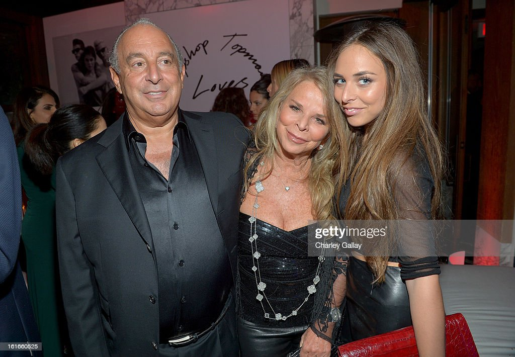Proprietor Sir <a gi-track='captionPersonalityLinkClicked' href=/galleries/search?phrase=Philip+Green+-+British+Businessman&family=editorial&specificpeople=220418 ng-click='$event.stopPropagation()'>Philip Green</a>, Lady <a gi-track='captionPersonalityLinkClicked' href=/galleries/search?phrase=Tina+Green&family=editorial&specificpeople=588957 ng-click='$event.stopPropagation()'>Tina Green</a> and <a gi-track='captionPersonalityLinkClicked' href=/galleries/search?phrase=Chloe+Green&family=editorial&specificpeople=4271114 ng-click='$event.stopPropagation()'>Chloe Green</a> attends the Topshop Topman LA Opening Party at Cecconi's West Hollywood on February 13, 2013 in Los Angeles, California.