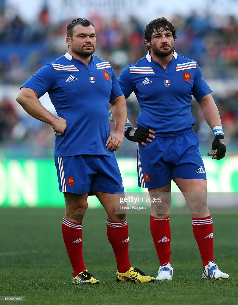 Props Nicolas Mas (L) and Yannick Forester of France look on during the RBS Six Nations match between Italy and France at Stadio Olimpico on February 3, 2013 in Rome, Italy.