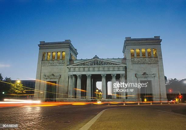Propylaea on the Koenigsplatz in Munich in the evening, Bavaria