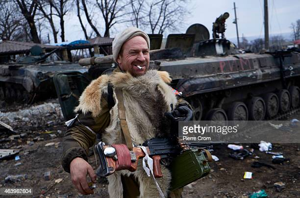 ProRussian fighters arrive on February 20 2015 in Debaltseve Ukraine The strategic railway town of Debaltseve is of under the control of proRussian...