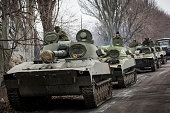 ProRussian rebels allegedly move tanks and heavy weaponry away from the front line of fighting in accordance with the Minsk II agreement on February...