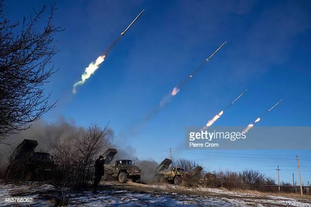 ProRussian rebels fire artillery grad rockets towards Debaltseve on February 18 near Vuglegirsk Ukraine Ukrainian troops have been forced to retreat...