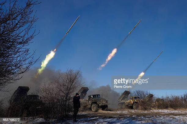 ProRussian rebels fire artillery grad rockets towards Debaltseve on February 18 near Vuglegirsk Ukraine Ukrainian troops have been forced to retreat...