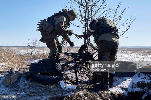 ProRussian rebels take position in a field near Debaltseve on February 18 near Vuglegirsk Ukraine Ukrainian troops have been forced to retreat from...