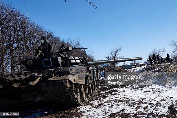 ProRussian rebels take position on the road to Debaltseve on February 18 near Vuglegirsk Ukraine Ukrainian troops have been forced to retreat from...