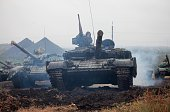 ProRussian separatists take part in a military competition between tank units near the town of Torez in the Donetsk region on September 14 2015 EU...