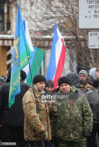 ProRussian supporters rally outside the Crimean parliament building on February 28 2014 in Simferopol Ukraine According to media reports Russian...