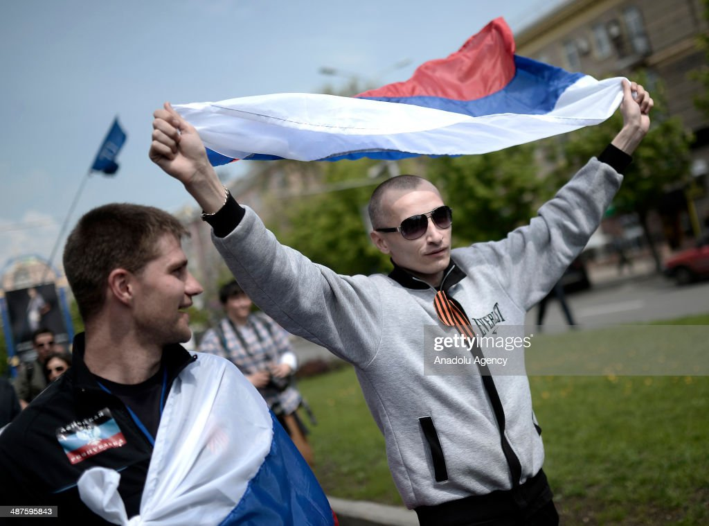 ProRussians attend the May Day rally in Donetsk Ukraine on May 1 2014