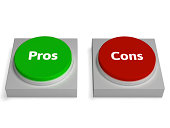 Pros Cons Buttons Showing Positive Or Negative