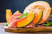 Prosciutto and melon, italian gourmet appetizer.