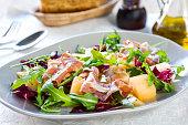Prosciutto with Rocket, Cantaloupe and Radicchio Salad