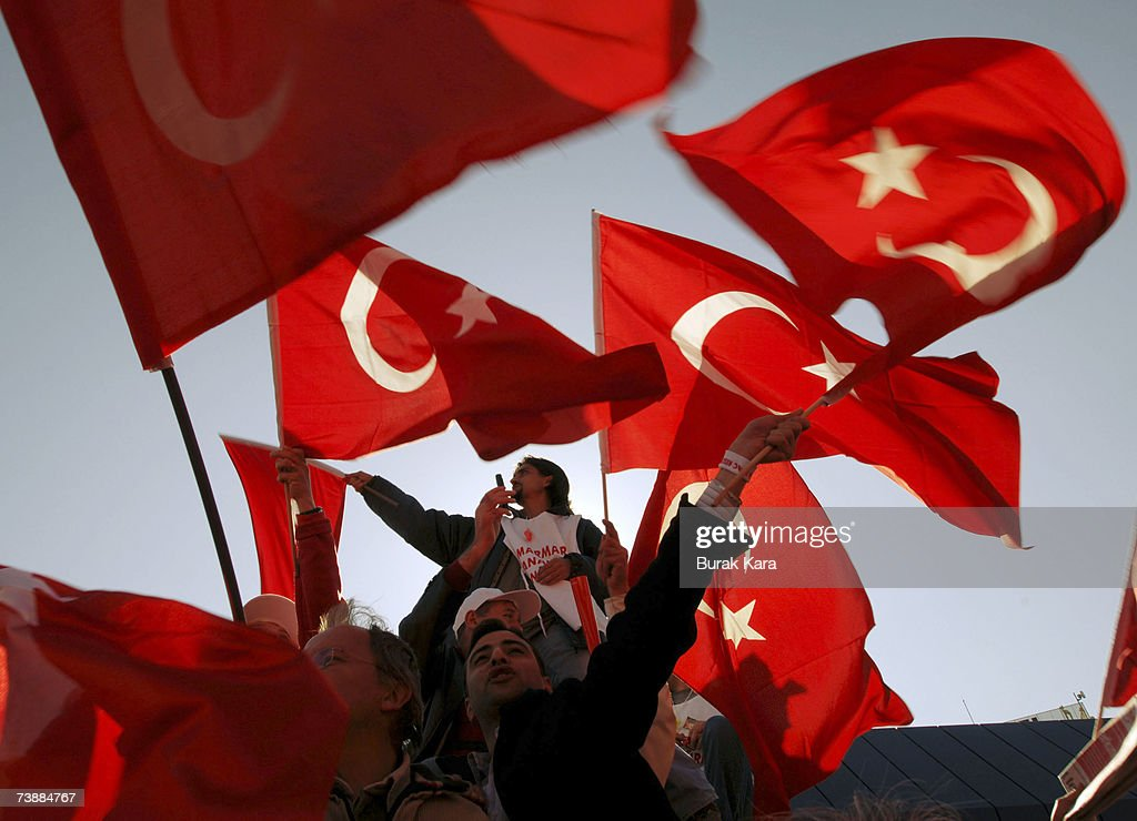 Pro-secularist Turks holding their national flags attend a rally against Turkish Prime Minister Tayyip Erdogan's possible candidacy to the presidency on April 14, 2007, in Ankara, Turkey. Secularists in this mainly Muslim country fear that if Erdogan became president an Islamic agenda will be implemented without opposition.