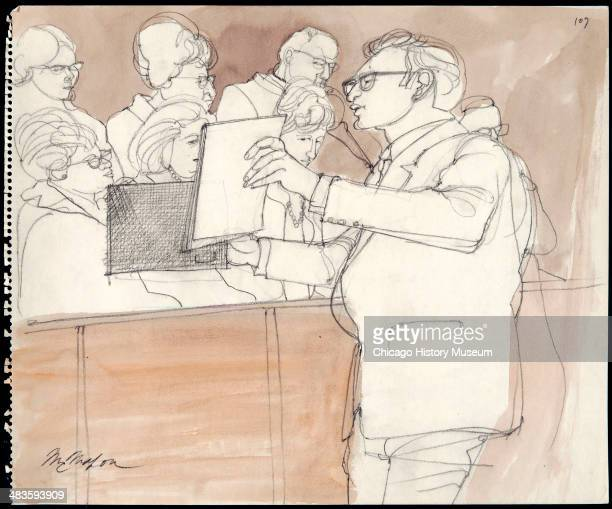 Prosecuting Attorney Richard Schultz presenting photos to jury in a courtroom illustration during the trial of the Chicago Eight Chicago Illinois...