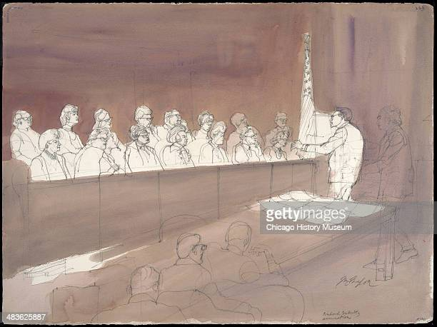 Prosecution attorney Richard Schultz gives summation to the jury in a courtroom illustration during the trial of the Chicago Eight Chicago Illinois...