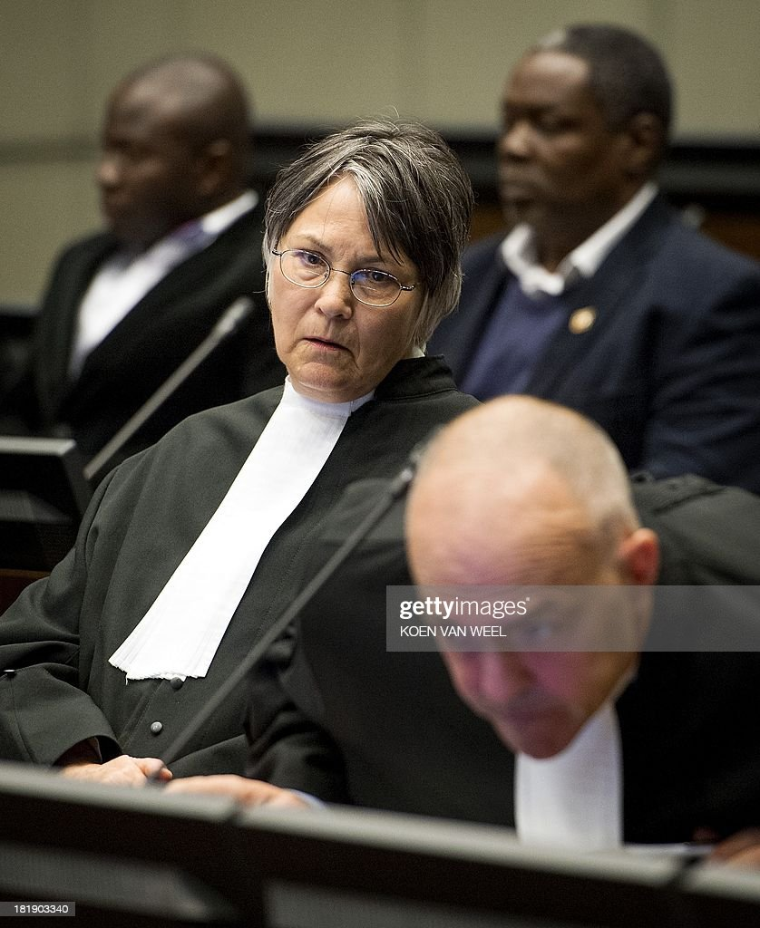 Prosecutor Brenda J. Hollis is pictured in the courtroom prior to the appeal judgement of Former Liberia's President Charles Ghankay Taylor in The Hague on September 26, 2013. The appeals judges' ruling at the Special Court for Sierra Leone (SCSL) marks the end of the road for the former west African strongman's seven-year long trial. AFP PHOTO / POOL / KOEN VAN WEEL