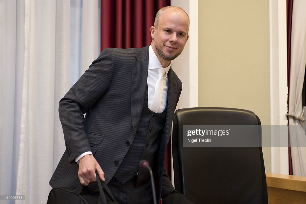 Prosecutor Clemens Eimterbaeumer waits in the courtroom at the Landgericht Hannover courthouse for the third day of the trial to Former German President Christian Wulff and defendant David Groenewol on November 27, 2013 in Hanover, Germany. Wulff is accused of accepting favors while he was governor of Lower Saxony, a charge that prompted him to resign last year from his office as president. Wulff is the first post-World War II German president to face a court trial.